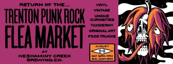 flyer for august 12 trenton punk rock flea market at neshaminy creek brewing company