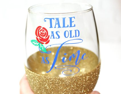 personalized beauty and the beast wine glass