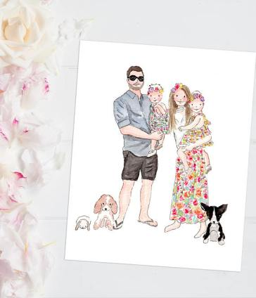 custom-family-illustration-portrait-mothers-day-gift