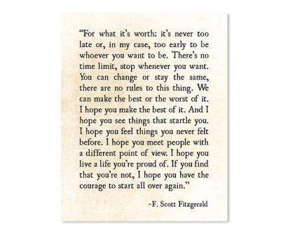 F. Scott Fitzgerald quote - Inspirational Graduation Gift