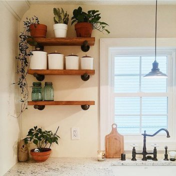 Open Kitchen Shelving - Wooden Shelves