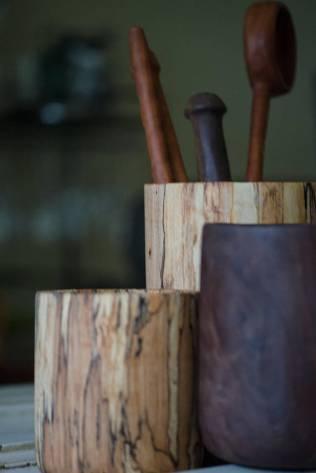 Handmade Wooden Utensil Holder - Kitchen Storage